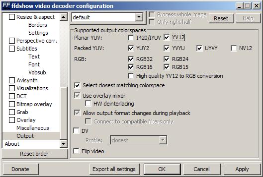 FFDShow YV12 Configuration