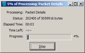 Wireshark progress bar