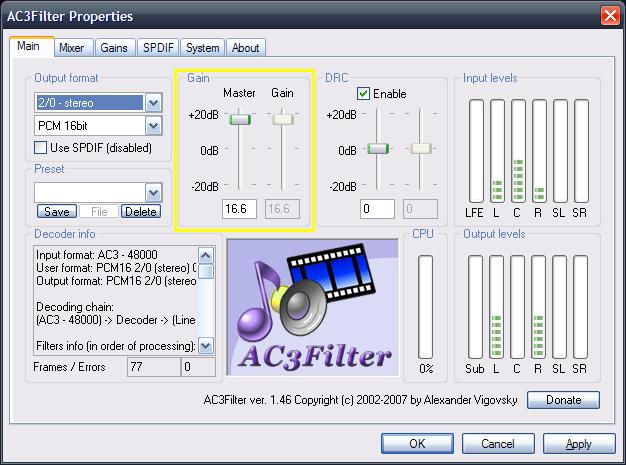 AC3Filter Gain Control