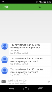Example messages I received while waiting for the Roam Mobility plan to activate. The phone is now set in Eastern time, so subtract three hours.