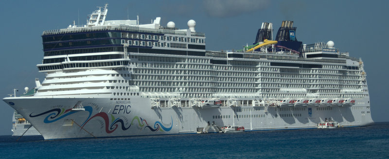 A view of the ship from the shore in Grand Cayman.
