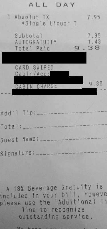 This is a slightly redacted example of a bar receipt that you still get with the UBP. The drink in question was vodka and Sprite.